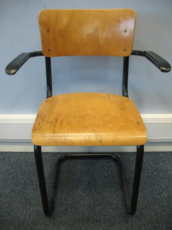 Original industrial metal cantilever chair