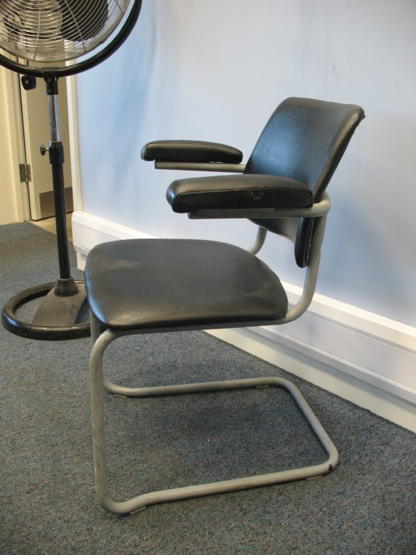 Original industrial vinyl metal cantilever chair