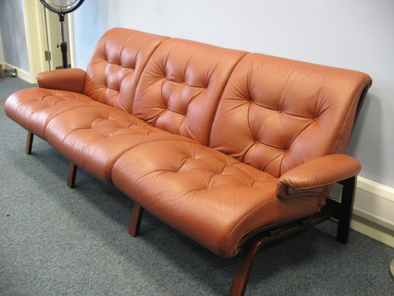 Sold Vintage Scandinavian Coja Leather Three Seater Sofa