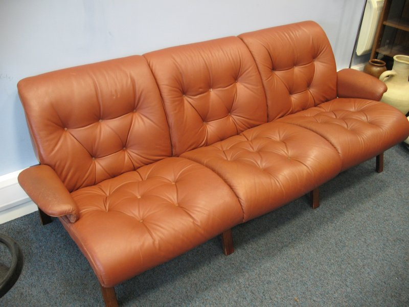 #SOLD# Vintage scandinavian Coja leather three seater sofa