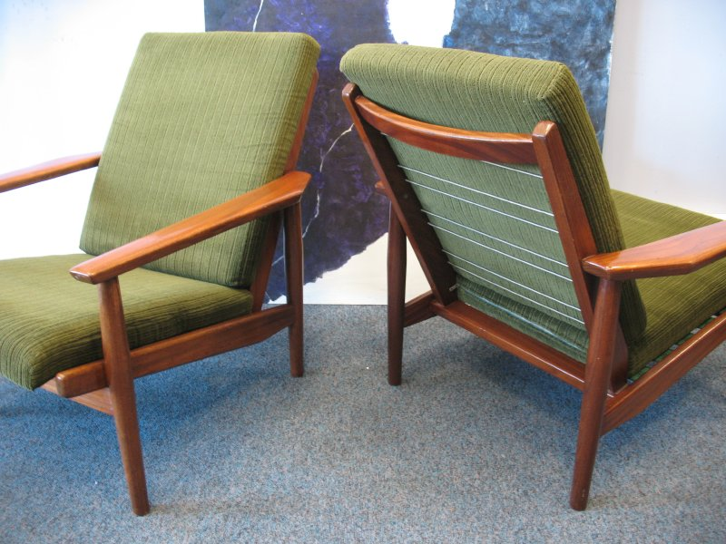 #Sold# Danish green fabric armchair