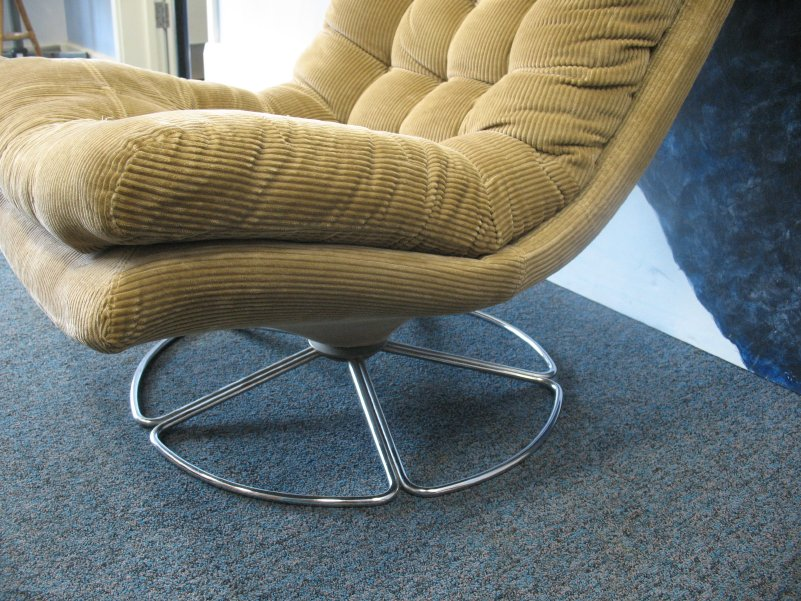 **SOLD**Danish Bruno Mathsson chrome base corduroy swivel Armchair