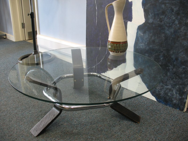 1970's glass coffee table
