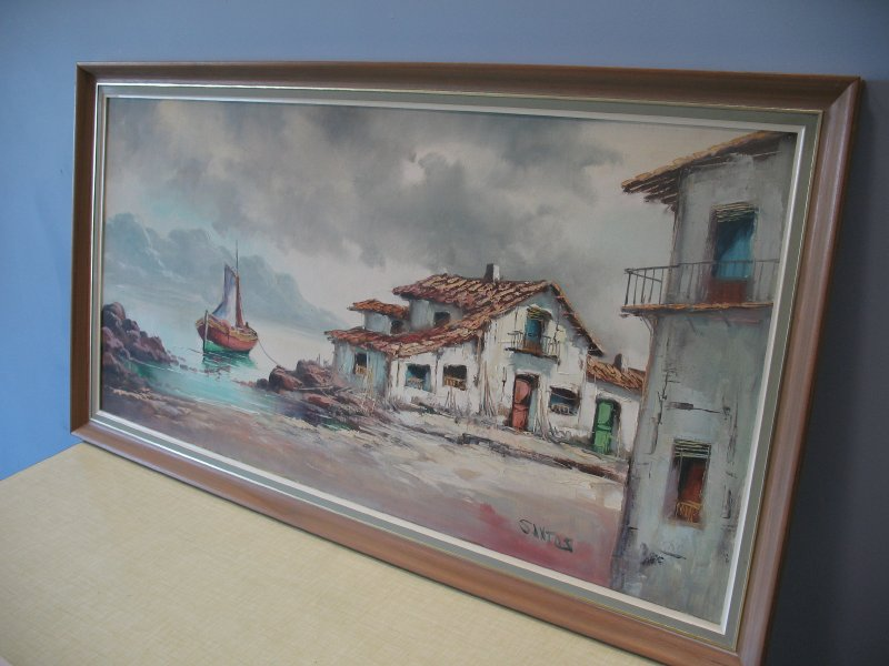 Original 1960 painting 'House next to the lake'