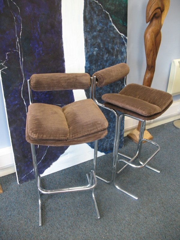 **SOLD**Chrome / fabric high chairs