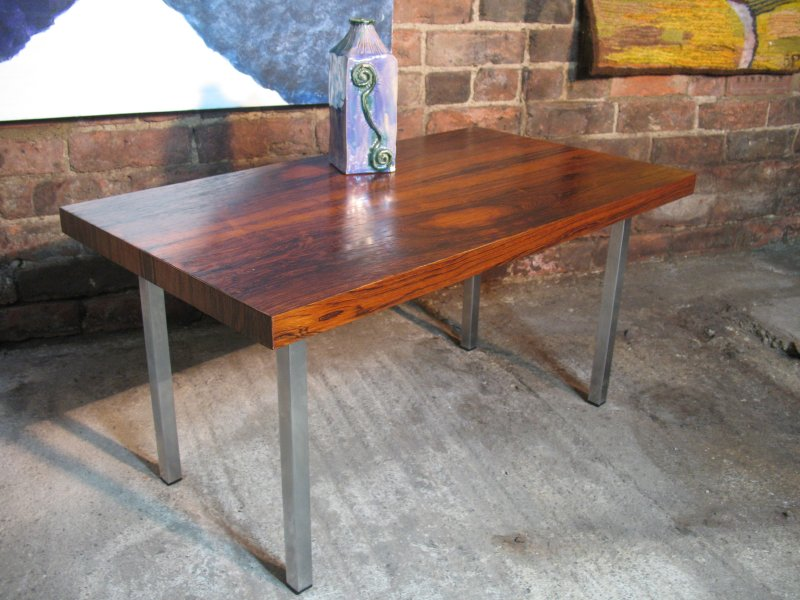 SOLD - 1960's Danish chrome rosewood  coffee table