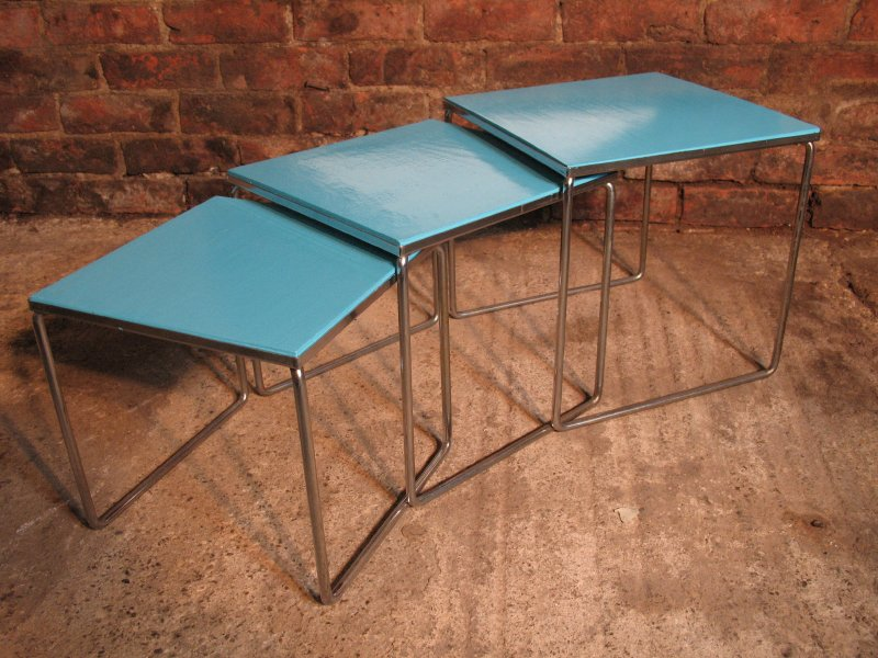 Chrome metal framed nest of tables (3)