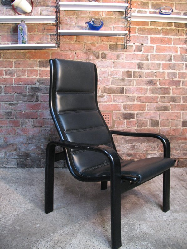 1980's Yngve Ekstrom for Swedese Black Leather Chair (A)