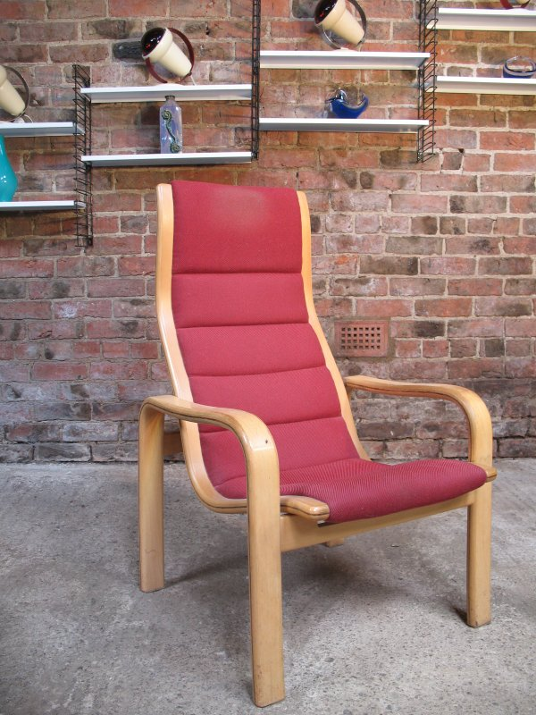 **SOLD**1980's Yngve Ekstrom for Swedese Red Fabric Chair (B)