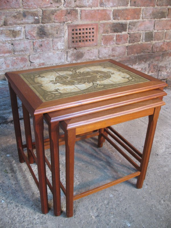 Large Teak / tile nest of tables (3)