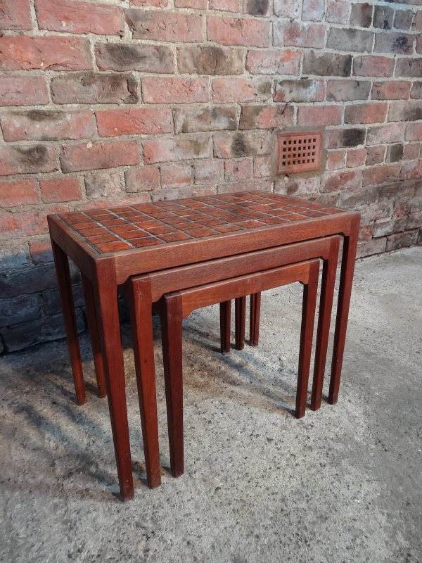 Large Danish 'Gelsted' Teak / tile nest of tables (3)