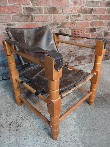 "Beautiful 1960s Arne Norell ""Sirocco"" brown leather safari chair"