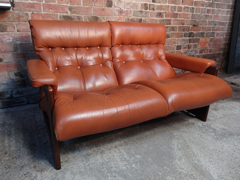 Sold Vintage Scandinavian Coja Leather Two Seater Sofa