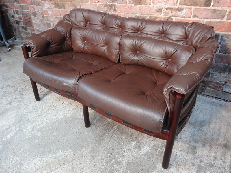 Danish rosewood Arne Norell brown leather sofa (price on request)