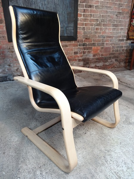 1980's Yngve Ekstrom for Swedese Black Leather light framed Chair
