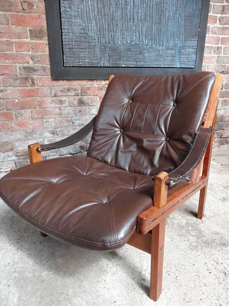 Torbjørn Afdal Brown Leather sling Armchair (price on request)