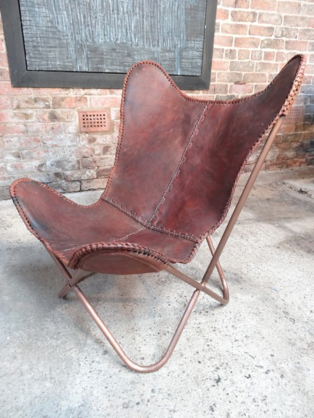 **sold**Jorge Ferrari - Hardoy design Leather butterfly sling chair