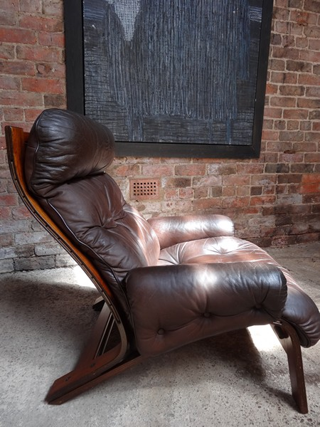 **SOLD**RYBO RYKKEN LEATHER & BRASILIAN ROSEWOOD CHAIR