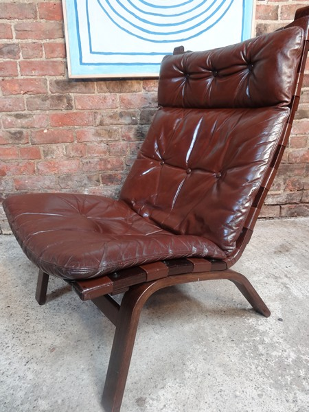 1970's Danish Ingmar Relling brown leather chair (R6)