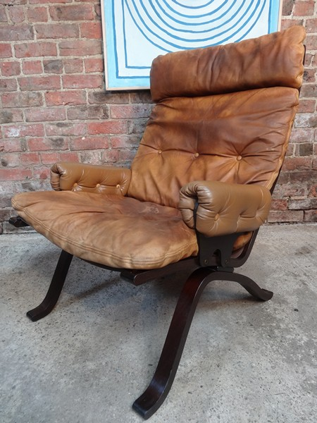 1970's Danish Ingmar Relling brown leather armchair (R8)