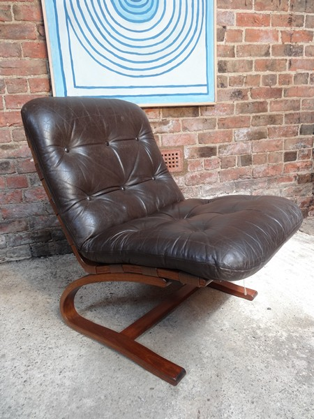 1970's Danish Ingmar Relling brown leather chair (R9)