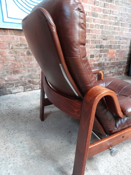 **SOLD**1970's Danish reclining leather arm chair