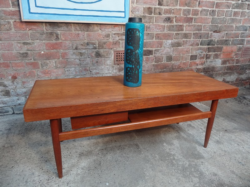 Sold 1960 S Danish Teak Coffee Table With Sliding Top