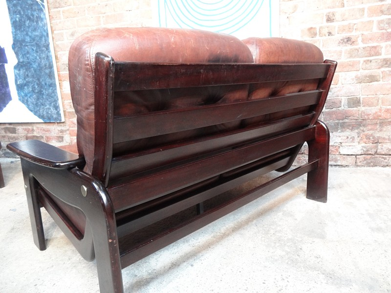 SOLD - Vintage scandinavian Coja leather two seater sofa (B)