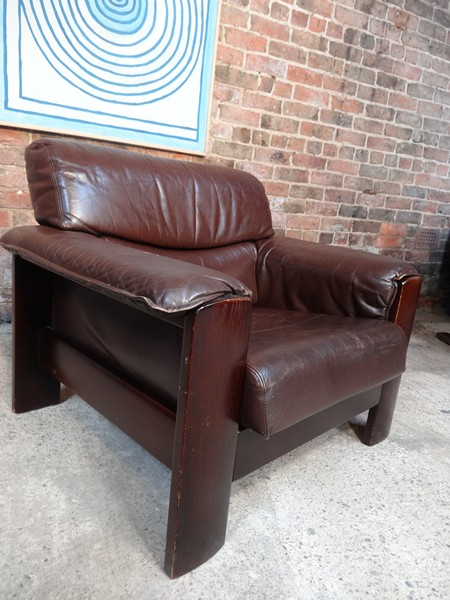 Vintage Dutch Leolux  leather armchair
