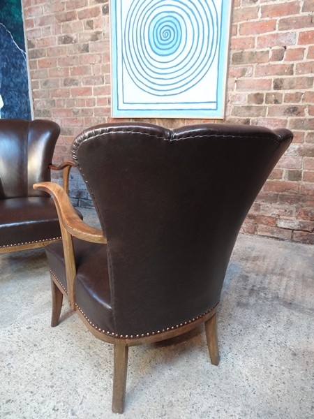 1950 two leather cocktail chairs