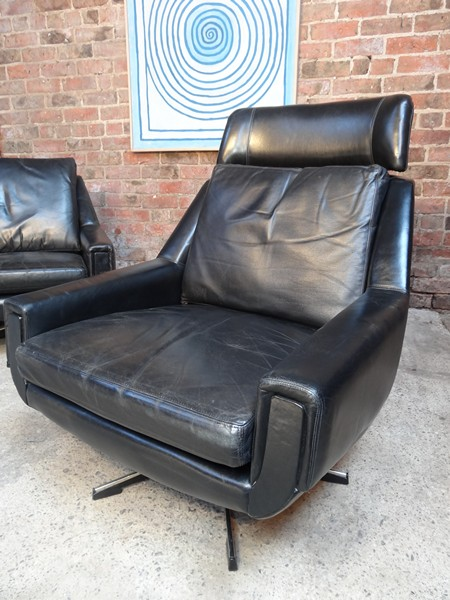 **SOLD**1950 black leather armchair (high)