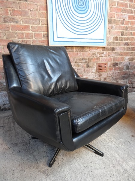 **SOLD**1950 black leather armchair (low)