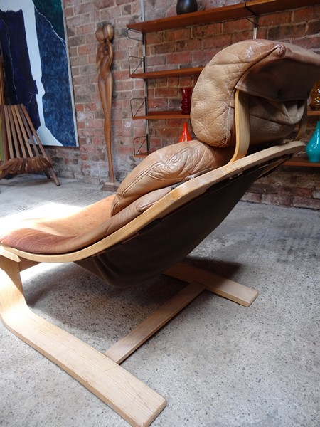 **SOLD**1960's Brown Leather Nelo Mobel sling Armchair (Light frame)