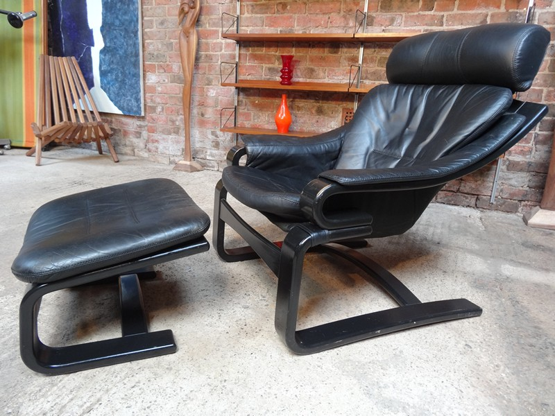 1960's Black Leather Nelo Mobel sling Armchair