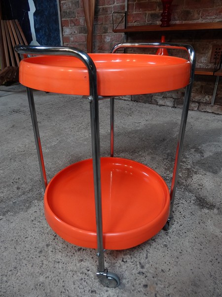 1960's chrome round orange trolley / table