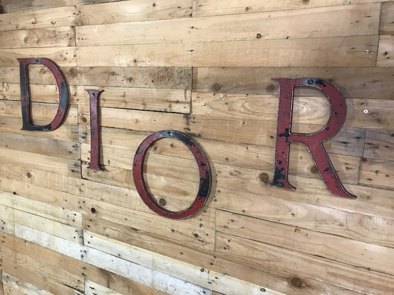 SOLD - ca 1920, Cast iron vintage Industrial DIOR signage