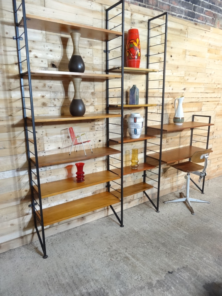 XXL black metal framed teak book shelving and desk