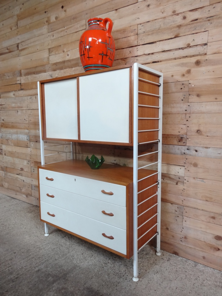 Metal framed teak / painted wall Unit / room devider (white is a off white)