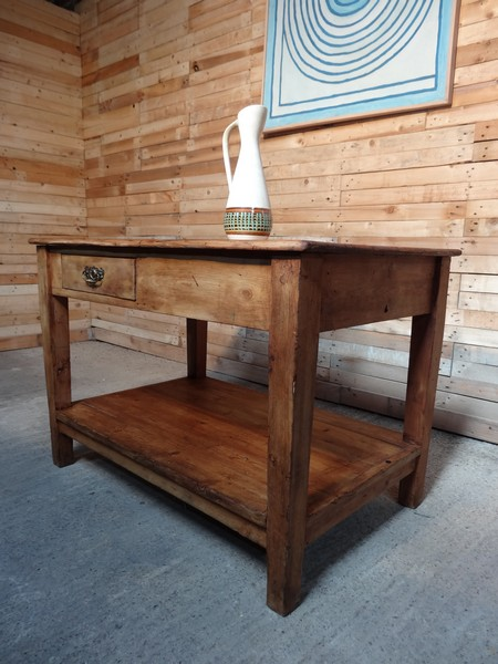 ca 1890 Beech kitchen island / table with drawer