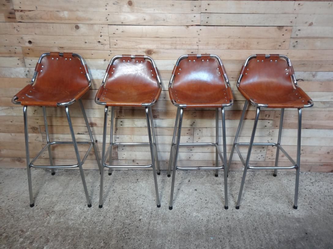 SOLD - 4x leather Charlotte Perriand Stools for Les Arcs 1960