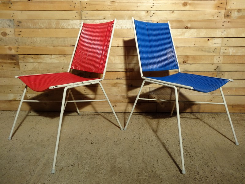 Pair of French Red and Blue wire chairs (price on request)