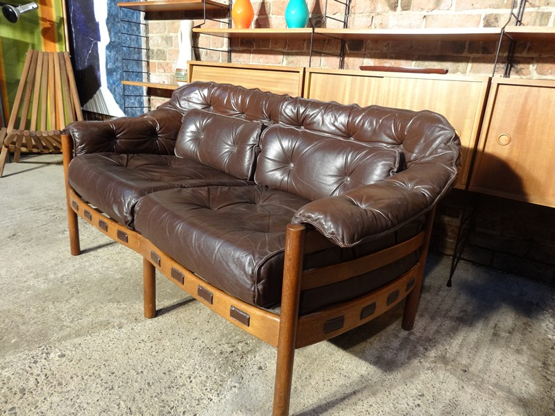 Danish Vintage Retro 1960 Teak Arne Norell brown leather sofa