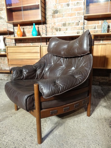 Danish rosewood Arne Norell brown leather sofa and two chairs (price on request)