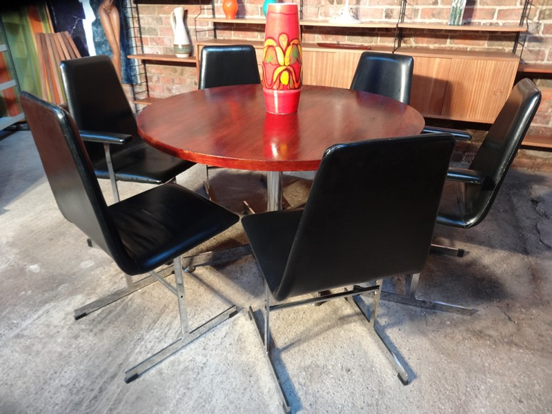 **SOLD**6 English Pieff chrome based Chairs and rosewood table