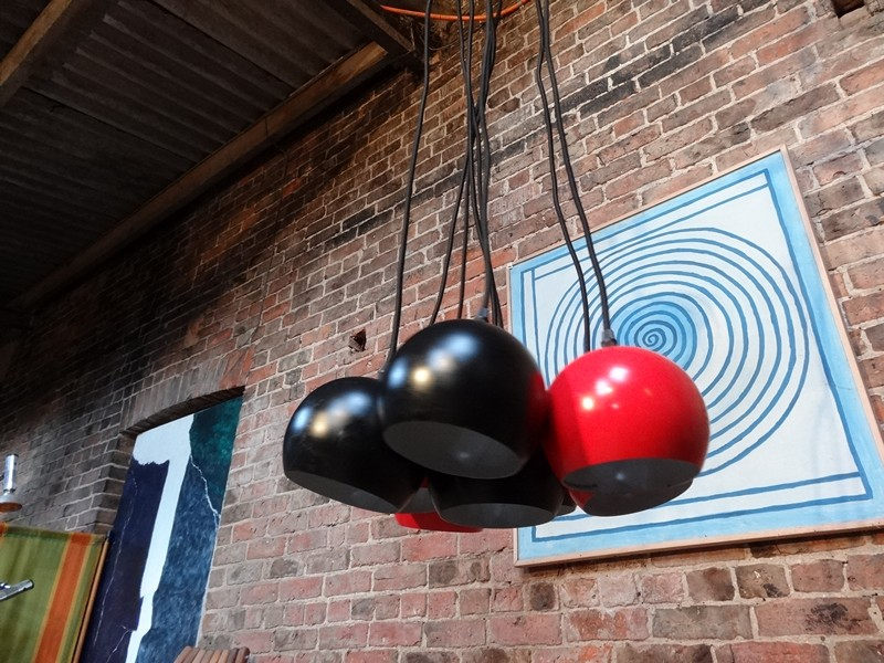 1960 metal  8 ball black and red ceiling light
