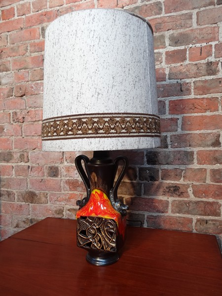 1960's retro orange ceramic light base with lampshade