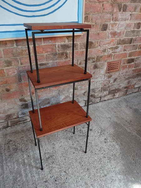 **SOLD**Metal Stiemsma metal framed teak nest of tables (3)