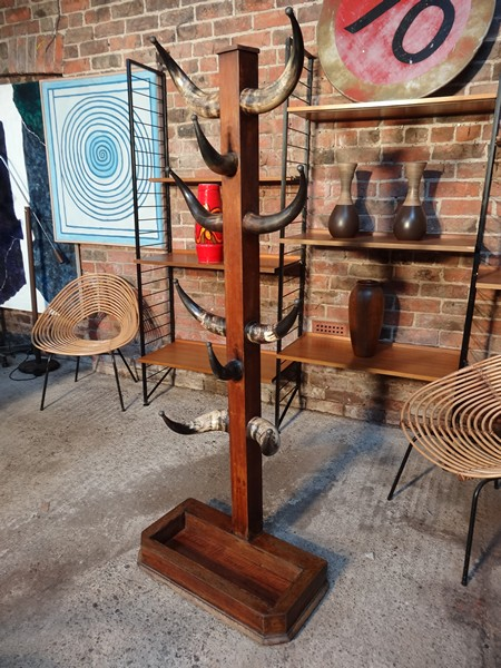 **SOLD** Freestanding 1900's antique mahogany Cowhorn coat rack