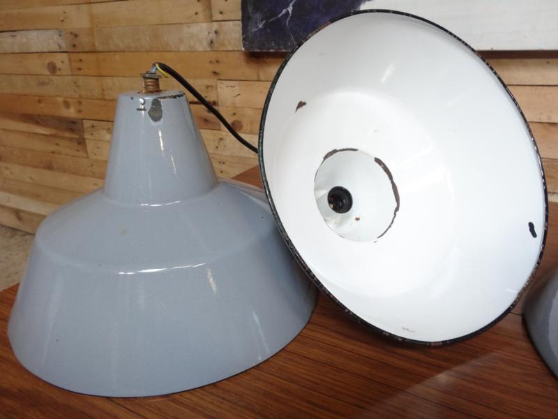 1960's grey porcelain  enamal light shades (3)
