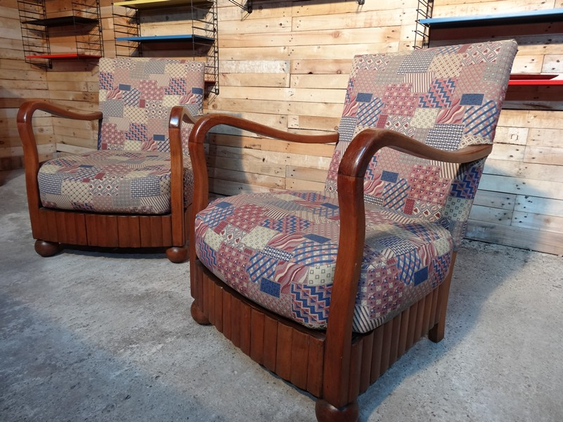 ca 1930 solid wooden art deco chairs